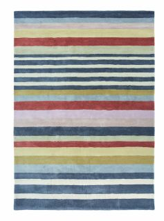 wool rug with multicolour stripe design