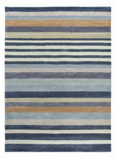 wool rug with blue stripe design