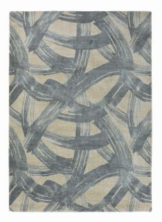 grey wool rug with abstract design