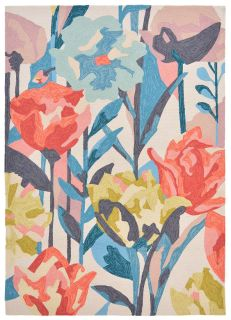 multicolour indoor/outdoor rug with floral design