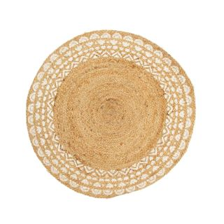 round jute rug with geometric design in white