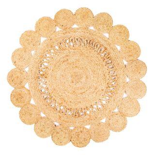 round jute rug in a flower shape