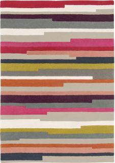 multicolour striped wool rug