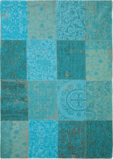Teal blue flatweave rug with patchwork pattern of Oriental, Persian and European designs
