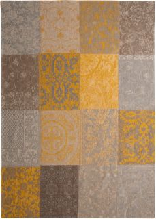 Yellow flatweave rug with patchwork pattern of Oriental, Persian and European designs