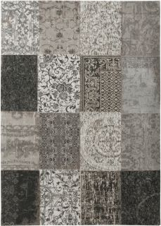 Black and white flatweave rug with patchwork pattern of Oriental, Persian and European designs