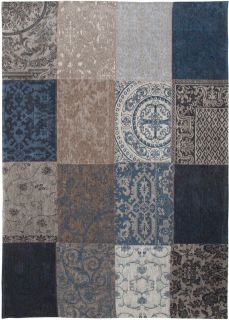 Blue flatweave rug with patchwork pattern of Oriental, Persian and European designs