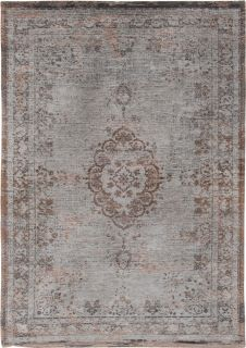 Grey and brown flatweave rug with faded persian medallion pattern