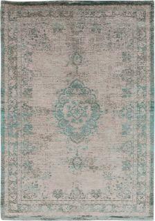Grey flatweave rug with faded persian design