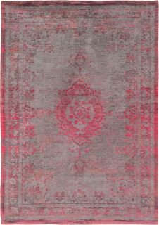 Grey and pink flatweave rug with faded persian design