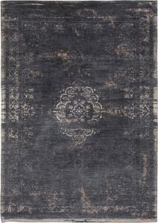 Black flatweave rug with faded persian design