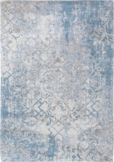 Ivory flatweave with faded floral and arabic pattern in grey and blue