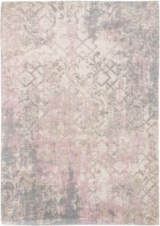 Ivory flatweave with faded floral and arabic pattern in beige and grey