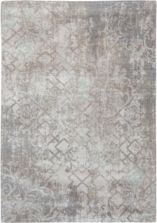 Ivory flatweave with faded floral and arabic pattern in grey