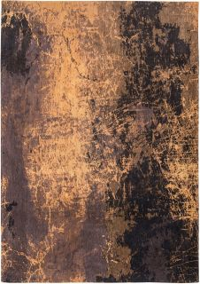 Flatweave rug with faded jagged abstract design in terracotta, copper and charcoal