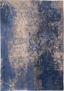 Flatweave rug with faded jagged abstract design in grey, beige and blue