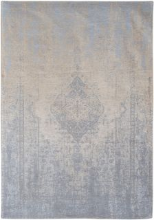 Blue and beige flatweave rug with faded persian medallion pattern
