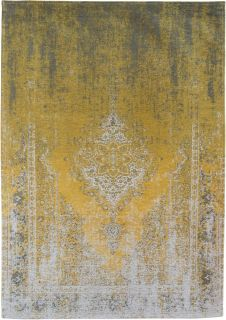 Yellow and grey flatweave rug with faded persian design