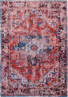 Red flatweave rug with Persian design and blue details
