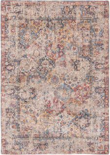 Flatweave rug with faded persian design in blue, red and yellow