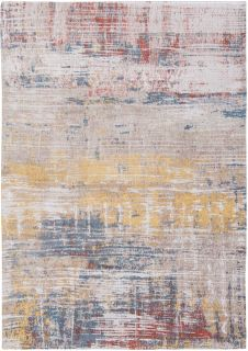 Flatweave rug with abstract stripe design in grey, beige, yellow, red and blue