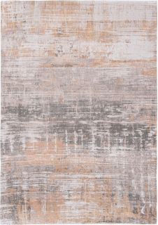 Flatweave rug with abstract stripe pattern in grey, pink and ivory white