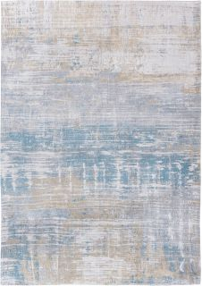 Flatweave rug with abstract stripe design in blue, grey and beige