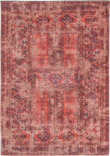 Red flatweave rug with faded persian design of floral motifs and gul medallions