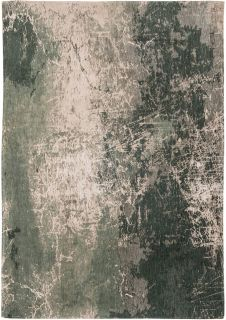 Flatweave rug with faded jagged abstract design in grey, beige and charcoal