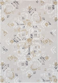 grey rug with an abstract folk pattern