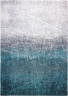 Blue and grey rug with gradient pattern and scratch mark design