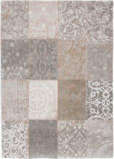 Beige flatweave rug with patchwork pattern of Oriental, Persian and European designs