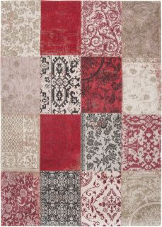 Red flatweave rug with patchwork pattern of Oriental, Persian and European designs