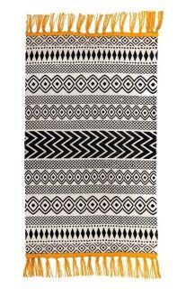 scandi style geometric rug in black and white