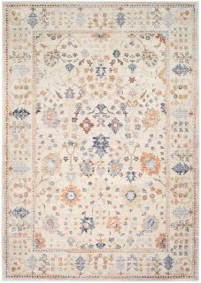 traditional style area rug in beige, rust and blue