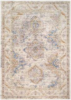 Persian style area rug in beige, blue and gold