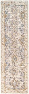 Persian style runner in beige, blue and gold