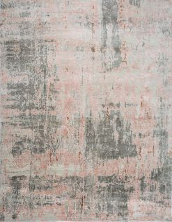 Authentic Indian rug with abstract design in antique white and pink