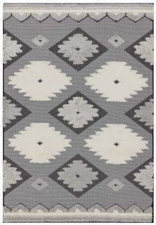 grey indoor/outdoor rug with aztec design