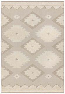 beige indoor/outdoor rug with aztec design