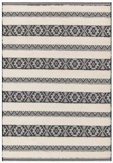 black and cream indoor/outdoor rug with aztec stripe design
