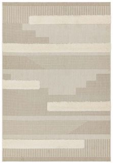 beige indoor/outdoor rug with geometric design