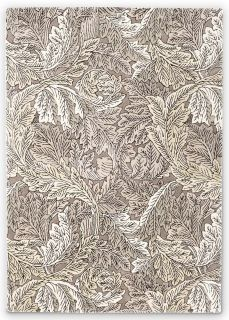 brown and taupe wool rug with leaf design