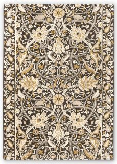 grey and mustard wool rug with floral print