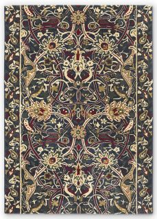 navy, red and beige wool rug with floral print
