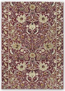 red and gold wool rug with floral print