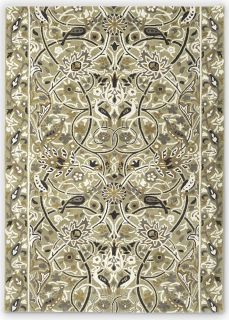 beige and mustard wool rug with floral print