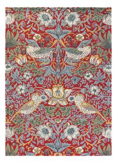 Wool rug with floral bird design in red, blue and green
