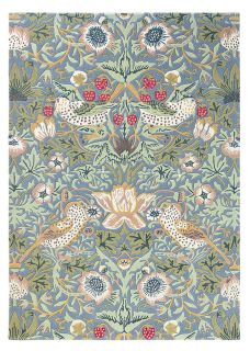 Wool rug with floral bird design in grey, blue, red and green