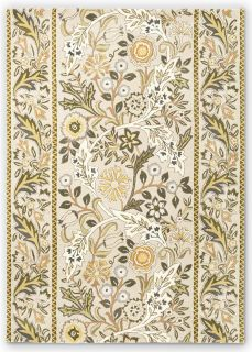 beige wool rug with multicolour floral design